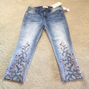 Driftwood cropped jeans with embroidery